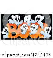 Cartoon Of The Word Boo And Ghosts Over Black With Bats Royalty Free Vector Clipart