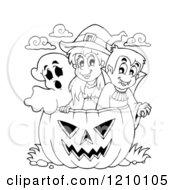 Cartoon Of A Black And White Halloween Girl Witch Boy Vampire And Ghost In A Jackolantern Pumpkin Royalty Free Vector Clipart