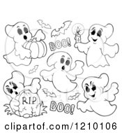 Cartoon Of Black And White Halloween Ghosts And Bats Royalty Free Vector Clipart