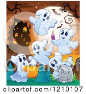Cartoon Of Halloween Ghosts With A Candle Tombstone And Pumpkin Near A Haunted House Royalty Free Vector Clipart