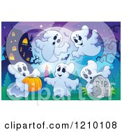 Cartoon Of Halloween Ghosts With A Candle Head Stone And Pumpkin Near A Haunted House Royalty Free Vector Clipart