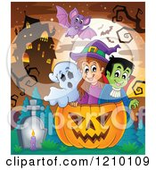 Cartoon Of A Bat Over A Ghost Witch And Vampire In A Halloween Jackolantern Pumpkin Near A Haunted House Royalty Free Vector Clipart