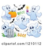 Cartoon Of Halloween Ghosts And Bats Royalty Free Vector Clipart