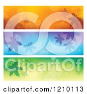 Clipart Of Autum Leaf And Flare Website Banners Royalty Free Vector Illustration by visekart