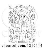 Cartoon Of A Black And White Happy Girl Holding An Autumn Leaf Royalty Free Vector Clipart