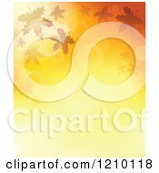 Clipart Of A Background Of Autumn Leaves And Flares On Gradient Orange Royalty Free Vector Illustration by visekart
