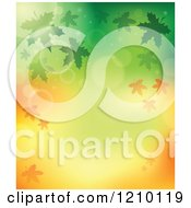 Clipart Of A Background Of Autumn Leaves And Flares On Green And Orange Royalty Free Vector Illustration by visekart