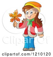 Cartoon Of A Happy Girl Holding An Autumn Leaf Royalty Free Vector Clipart