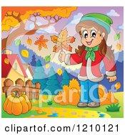 Cartoon Of A Happy Girl Holding An Autumn Leaf Near A Pumpkin On A Path Royalty Free Vector Clipart