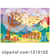 Cartoon Of A Tree Being Stripped Of Autumn Leaves In A Breeze Behind Homes Royalty Free Vector Clipart by visekart
