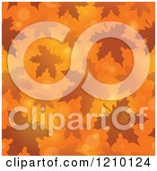 Clipart Of A Seamless Background Of Autumn Leaves And Flares On Orange Royalty Free Vector Illustration