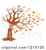 Cartoon Of A Tree Being Stripped Of Autumn Leaves In A Breeze Royalty Free Vector Clipart