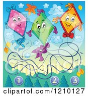 Cartoon Of Happy Numbered Kites And Clouds With Autumn Leaves Royalty Free Vector Clipart by visekart
