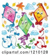 Cartoon Of Happy Colorful Kites And Clouds With Autumn Leaves Royalty Free Vector Clipart by visekart