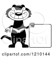 Black And White Skinny Tasmanian Devil By A Sign