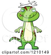 Cartoon Of A Drunk Skinny Gecko Royalty Free Vector Clipart