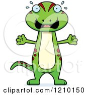 Cartoon Of A Scared Skinny Gecko Royalty Free Vector Clipart