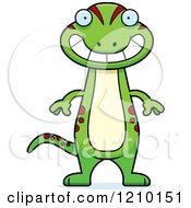 Cartoon Of A Grinning Skinny Gecko Royalty Free Vector Clipart by Cory Thoman