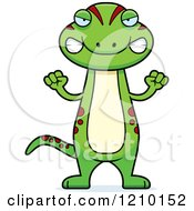 Cartoon Of A Mad Skinny Gecko Royalty Free Vector Clipart