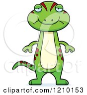 Cartoon Of A Depressed Skinny Gecko Royalty Free Vector Clipart