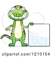 Cartoon Of A Skinny Gecko With A Sign Royalty Free Vector Clipart