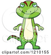 Cartoon Of A Sly Skinny Gecko Royalty Free Vector Clipart