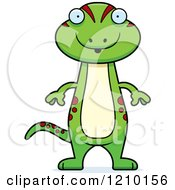 Cartoon Of A Surprised Skinny Gecko Royalty Free Vector Clipart