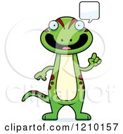 Cartoon Of A Talking Skinny Gecko Royalty Free Vector Clipart