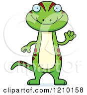 Cartoon Of A Waving Skinny Gecko Royalty Free Vector Clipart
