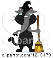 Cartoon Of A Depressed Black Halloween Witch Cat Royalty Free Vector Clipart by Cory Thoman