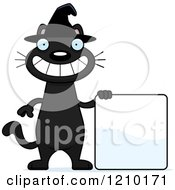 Cartoon Of A Black Halloween Witch Cat With A Sign Royalty Free Vector Clipart by Cory Thoman