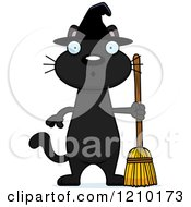 Cartoon Of A Surprised Black Halloween Witch Cat Royalty Free Vector Clipart by Cory Thoman