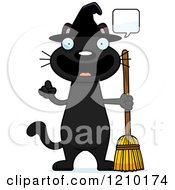 Cartoon Of A Talking Black Halloween Witch Cat Royalty Free Vector Clipart by Cory Thoman