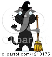Cartoon Of A Black Halloween Witch Cat Waving Royalty Free Vector Clipart by Cory Thoman