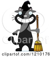 Cartoon Of A Grinning Black Halloween Witch Cat Royalty Free Vector Clipart by Cory Thoman