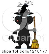 Cartoon Of A Drunk Black Halloween Witch Cat Royalty Free Vector Clipart by Cory Thoman