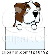 Cartoon Of A St Bernard Dog Over A Sign Royalty Free Vector Clipart
