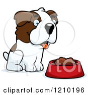 Cartoon Of A St Bernard Dog Sitting Over A Food Bowl Royalty Free Vector Clipart