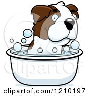 Cartoon Of A St Bernard Dog Taking A Bath Royalty Free Vector Clipart by Cory Thoman