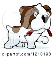 Cartoon Of A St Bernard Dog Carrying A Leash In His Mouth Royalty Free Vector Clipart