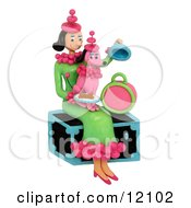 Woman Holding Pink Poodle With Matching Outfit Sitting On Trunk