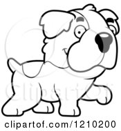 Cartoon Of A Black And White Walking St Bernard Dog Royalty Free Vector Clipart