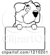 Cartoon Of A Black And White St Bernard Dog Over A Sign Royalty Free Vector Clipart by Cory Thoman