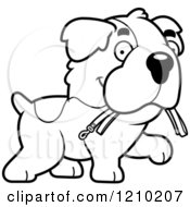 Cartoon Of A Black And White St Bernard Dog Carrying A Leash In His Mouth Royalty Free Vector Clipart by Cory Thoman