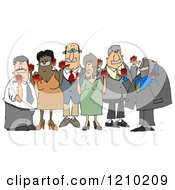 Cartoon Of Anti Syrian War Activist People With Blood On Their Hands And Tape Over Their Mouths Royalty Free Clipart Illustration