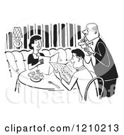 Clipart Of A Polite Happy Couple And Waiter Taking Their Order At A Restaurant Royalty Free Vector Illustration
