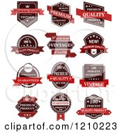 Clipart Of Vintage Quality Guarantee Labels Royalty Free Vector Illustration