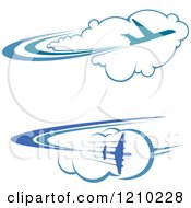 Clipart Of Blue Airplanes Flying Over Clouds 3 Royalty Free Vector Illustration