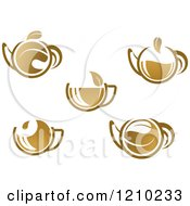Clipart Of Brown Tea Or Coffe Pots And Cups With Leaves Royalty Free Vector Illustration
