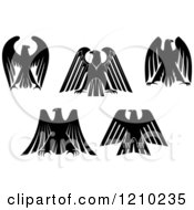 Clipart Of Black And White Heraldic Eagles 2 Royalty Free Vector Illustration